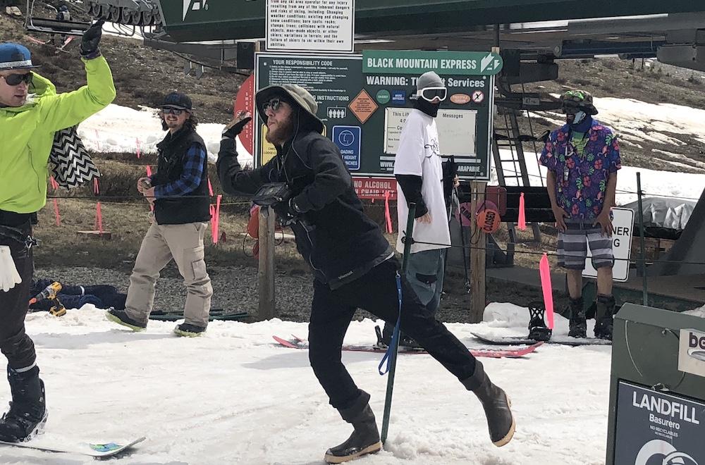Ski lift operator at Pallavicini having fun